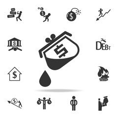 oil expenses from dollar purse icon. Detailed set of finance, banking and profit element icons. Premium quality graphic design. One of the collection icons for websites, web design