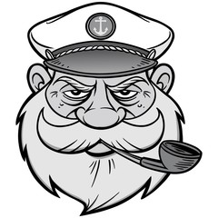 Sea Captain Illustration - A vector cartoon illustration of a Sea Captain mascot.