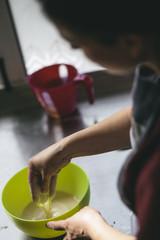Preparing ingredients for Easter bread