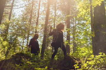 Girlfriends in nature