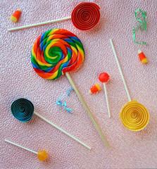 lollipops on pink background