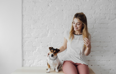 Portrait of Beautiful Woman and Her Dog
