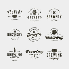 set of vintage brewery logos. vector illustration