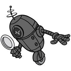 Search Engine Bot Illustration - A vector cartoon illustration of a Search Engine Bot concept.