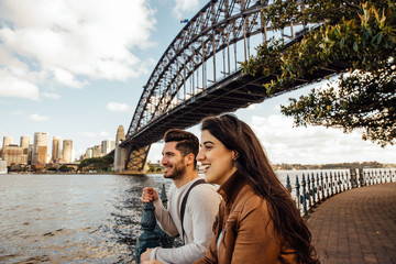 Tourist Couple in Sydney Near Harbor Bridge