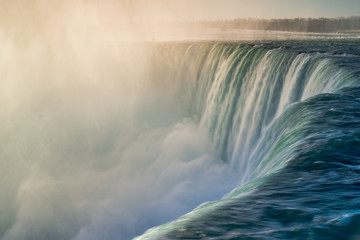 Mist over Niagara Falls Horseshoe Falls Ontario Canada At Dawn