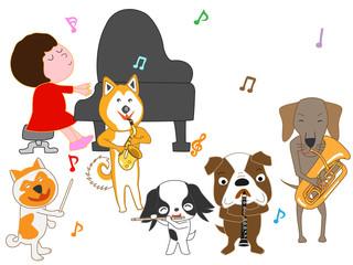 犬のコンサート。子供と犬が歌ったり、楽器を演奏している。