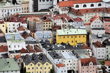colorful buildings and rooftops in germany background