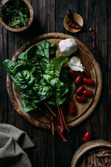 Fresh ingredients on wooden background