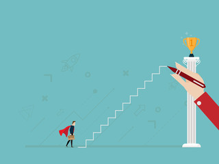 illustration of businessman with hand drawing ladderr to golden trophy on pillar