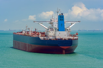 Crude oil tanker in Singapore strait