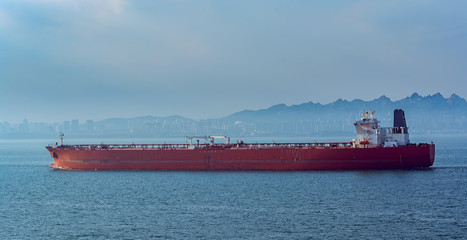 Crude oil tanker in front of Qingdao coastline.