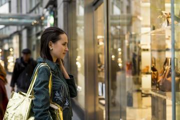 Woman doing window shopping