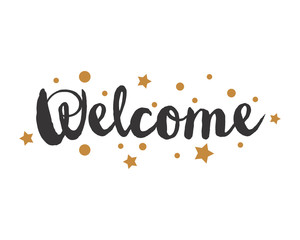 welcome alphabet typography font text image vector icon