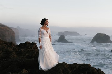 A Bride on a Cliff by the Ocean