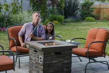 Dad Burning Marshmallow