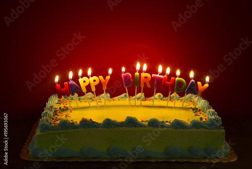 Happy Birthday Spelled In Lit Candles