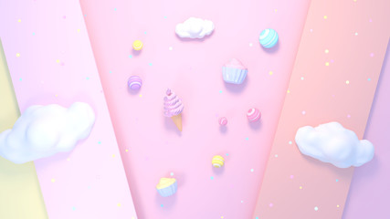 Sweet candy, cupcake and ice cream. 3d rendering picture.