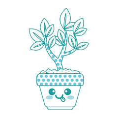 houseplant in pot with tongue out kawaii character