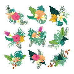 Various Hand Drawn Tropical Flower Foliage Composite Design Collection Set