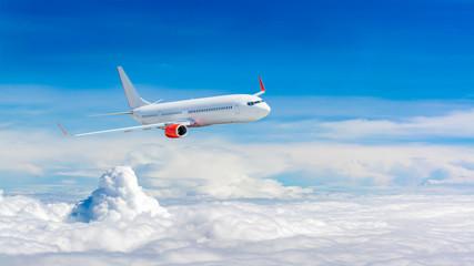 White airplane flying above cloud Fotobehang