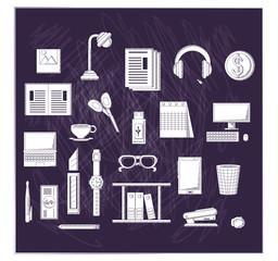 Office supplies over black background, sketch design. vector illustration