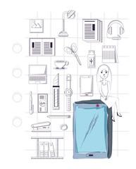 Office supplies around over white   background, sketch design. vector illustration