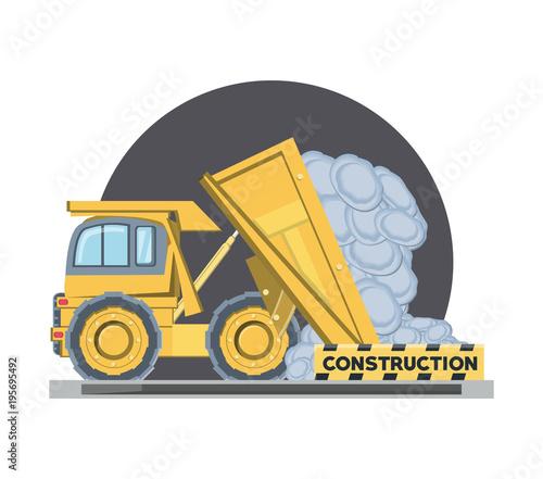 Dump Truck Unloading Cargo Over Whtie Background Colorful Design Vector Illustration