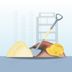 Construction design with shovel and safety helmet with pile of sand over blue background, colorful design vector illustration