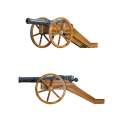 Pair of old cannons isolated on white. 3d render