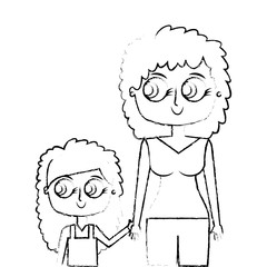 mother holding hand with her daughter vector illustration green image sketch image