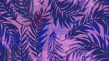 Seamless pattern, tropical palm leaf on purple background, blue and purple tones