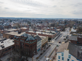 Aerial of Downtown Hanover, Pennsylvania next to the Square