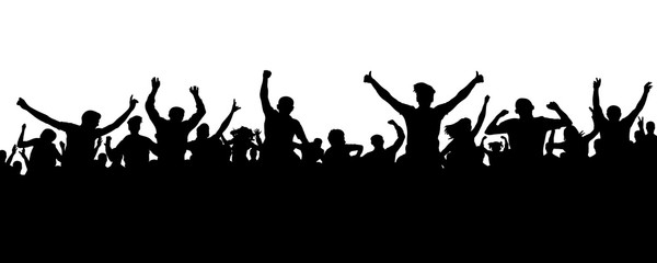 Crowd of people silhouette. Sports banner. Hands up fans. Cheerful life party