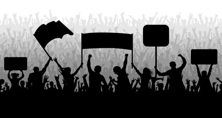 Demonstration, manifestation, protest, strike, revolution. Crowd of people with flags, banners. Sports, mob, fans. Silhouette background vector