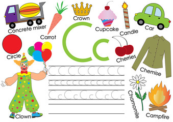 English alphabet. Letter C. Card with pictures and writing practice for preschool children.