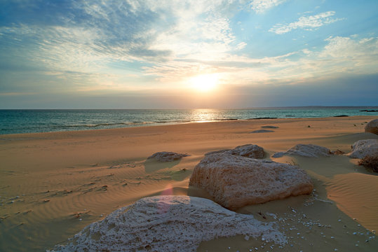 Coast of the sea at sunset. On the shore of the Caspian Sea. The Caspian Sea is the largest enclosed inland water body on Earth by area.