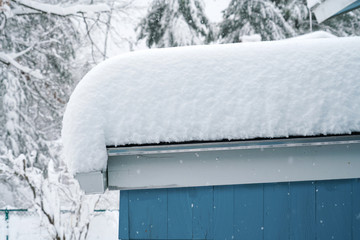 thick snow accumulated on top of the roof