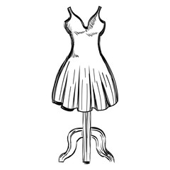 mannequin with elegant woman dress icon