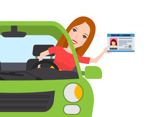 woman in car showing a driver license