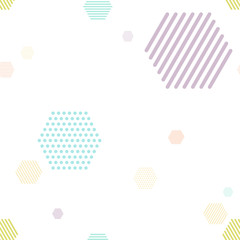 hexagon tiles with dot and stripe elements. seamless pattern and pastel color concept. vector illustration.