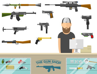 Weapon banner with men choosing gun and shooting at charges vector illustration