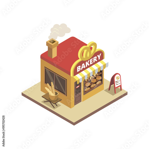 Isometric view of town bakery shop building with pretzel