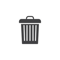 Garbage bin vector icon. filled flat sign for mobile concept and web design. Trash can simple solid icon. Symbol, logo illustration. Pixel perfect vector graphics