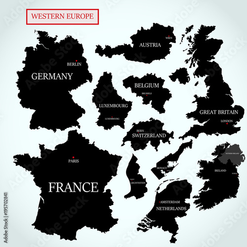 Vector maps of Western Europe with capitals\