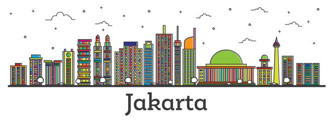 Outline Jakarta Indonesia City Skyline with Color Buildings Isolated on White.