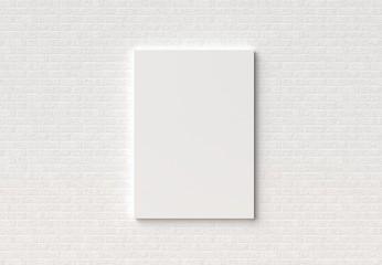 Empty Frame mock up on white brick wall. 3D illustrating.