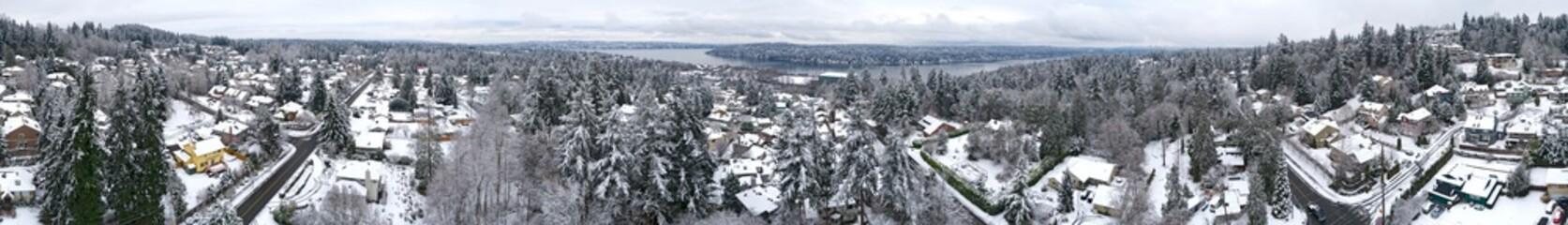 360 Panoramic View Newcastle Washington Snowy Day