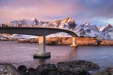 Poster Arctic Bridge in the Lofoten islands bay. Natural landscape during sunrise