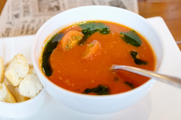 Moroccan tomato soup with croutons of ciabatta